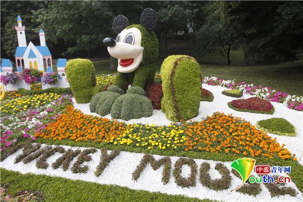 """乌克兰举行""""卡通世界""""鲜花展 """"花""""样小黄人米老鼠栩栩如生"""
